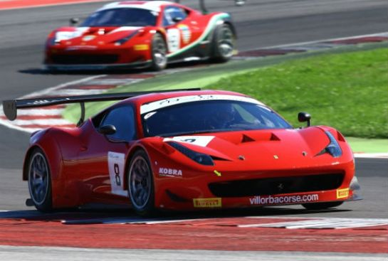 Villorba Corse Ferrari in action at Misano with Mezard